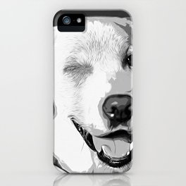 labrador retriever dog winking vector art black white iPhone Case