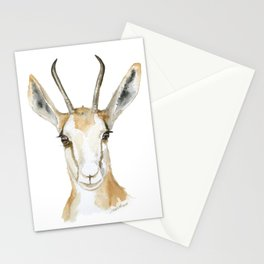 Springbok Antelope Watercolor Painting Stationery Cards