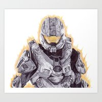 master chief Art Prints featuring Halo Master Chief by DeMoose_Art