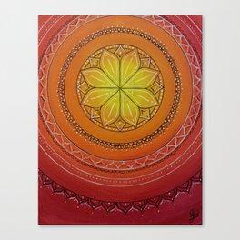 Yellow and Red Mandala Canvas Print