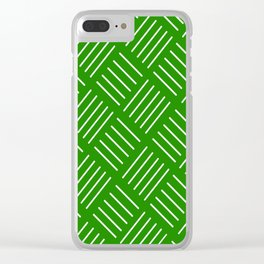 Abstract geometric pattern - green and white. Clear iPhone Case