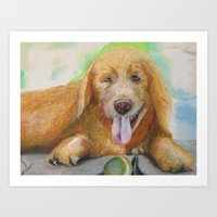 Lazy Golden Retriever Art Print
