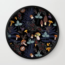 dark wild forest mushrooms Wall Clock