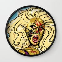 rupaul Wall Clocks featuring Zombie RuPaul by ComfortComfort