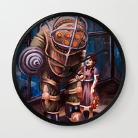 bioshock Wall Clocks featuring Bioshock by Emily Blythe Jones