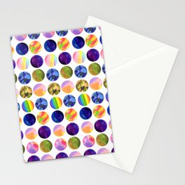 Hand painted neon colors watercolor moon planet Stationery Cards