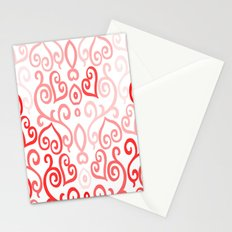 Red and Pink Ombre Heart Design Stationery Cards
