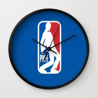 pee wee Wall Clocks featuring Pee Wee League by sinistergrynn