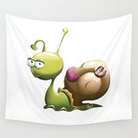 snail Wall Tapestries featuring Snail by ArtPavo