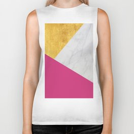 Carrara marble with gold and Pantone Pink Yarrow color Biker Tank