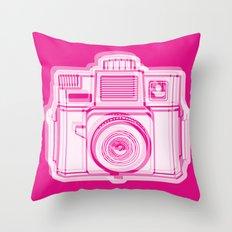 I Still Shoot Film Holga Logo - Reversed Pink Throw Pillow