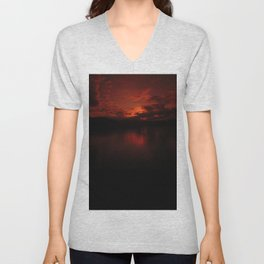 Dark Red Sunset in Montana, Water Reflection, Hues of Red, Sailor's Delight Unisex V-Neck