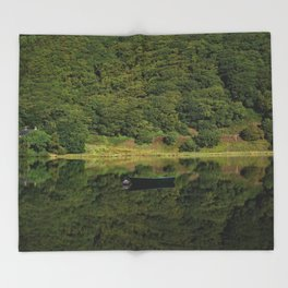Llyn Mwyngil Reflection Throw Blanket