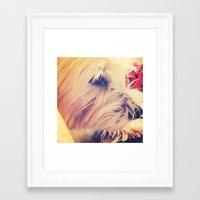 westie Framed Art Prints featuring westie love by simple art