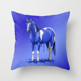 Royal Blue Dripping Paint Horse Throw Pillow
