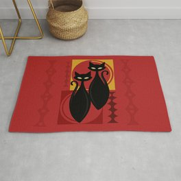 Devilishly Delightful Atomic Age Black Kitschy Cats Rug