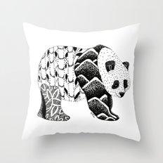 Bamboo Panda Bear Mountains and leaves dot-work, pointillism Throw Pillow