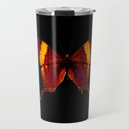 Butterfly - Vibrant Glow - Orange Brown Yellow Black Travel Mug
