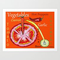 vegetables Art Prints featuring Vegetables by Sartoris ART