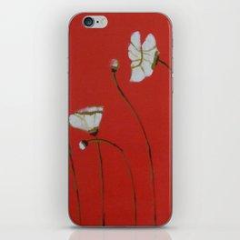 Asian White Poppies iPhone Skin