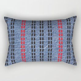 Digital Graphic Pattern Blue Denim Rectangular Pillow
