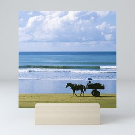 Costa Rica: Horse-Drawn Wagon On Beach Mini Art Print