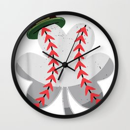 Kids Baseball Shamrock Vintage Patrick Day Paddys Luck Irish Wall Clock