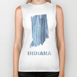 Indiana map outline Light steel blue nebulous watercolor Biker Tank