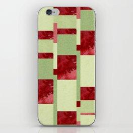 Modern Horizontal Stripe Pattern Watercolor Red Green Lime iPhone Skin