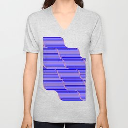 Geo Stripes - Cobalt Blue Unisex V-Neck