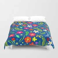 hawaiian Duvet Covers featuring Hawaiian Garden by uzualsunday