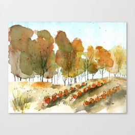 Autumn Trees and Pumpkin Patch Watercolor Canvas Print