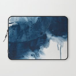 Where does the dance begin? A minimal abstract acrylic painting in blue and white by Alyssa Hamilton Laptop Sleeve