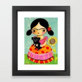 Frida with Black Pug dog by TASCHA Framed Art Print