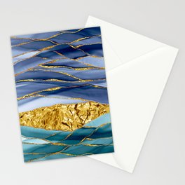 Blue And Teal And Gold Mermaid Glamour Marble Landscape  Stationery Cards
