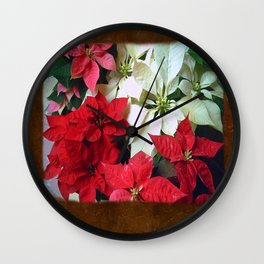 Mixed color Poinsettias 1 Blank P3F0 Wall Clock