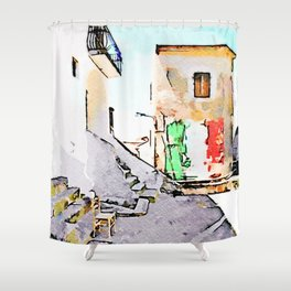 Tortora glimpse with chair and building whit Italian flag painted on the wall Shower Curtain
