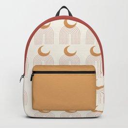 Mid Century Modern Geometric 49 in Terracotta Gold Beige Backpack