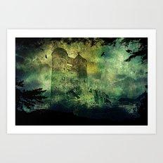 Dark castle behind trees Art Print