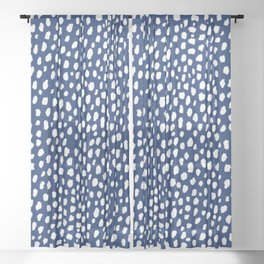 Handmade polka dot brush strokes (white/navy blue) Sheer Curtain