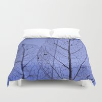leaf Duvet Covers featuring leaf by Bunny Noir