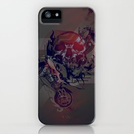 Until One of Us Starts Raving - Skull and Motorbikes iPhone Case