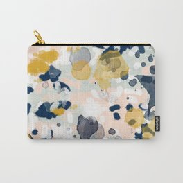 Noel - navy mint gold painted abstract brushstrokes minimal modern canvas art painting Carry-All Pouch