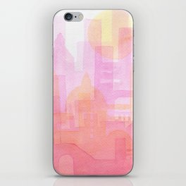 Pink and golden city watercolor iPhone Skin
