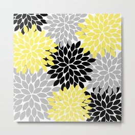Yellow Black Gray Flower Burst Floral Pattern Metal Print