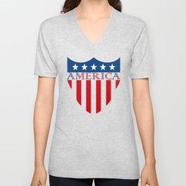 America Flag Vector Unisex V-Neck