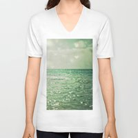 minimalist V-neck T-shirts featuring Sea of Happiness by Olivia Joy StClaire