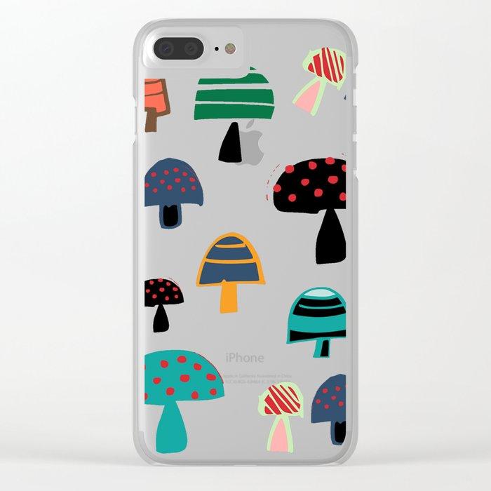 Cute Mushroom white Clear iPhone Case