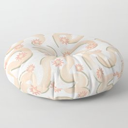 Neutral Tone Line Art Pattern Boho Beige Floor Pillow