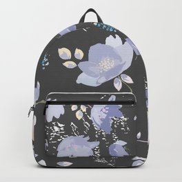 Spring watercolor flowers on Grey background Backpack